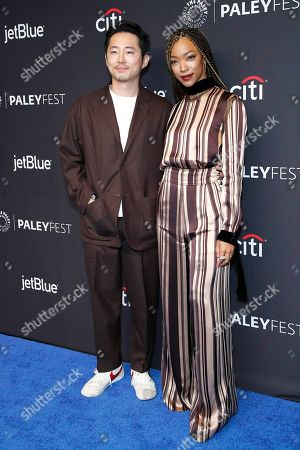 Korean-American actor Steven Yeun (L) and US actress Sonequa Martin-Green arrive for The Paley Center for Media's PaleyFest LA 2019 presentation for the television show 'The Twilight Zone' at the Dolby Theatre in Los Angeles, California, USA, 24 March 2019.