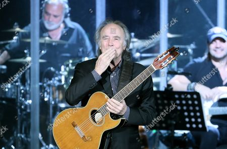 Joan Manuel Serrat performs during his concert, titled 'Mediterraneo da Capo' at the Jorge Eliecer Gaitan Theater in Bogota, Colombia, 24 March 2019.