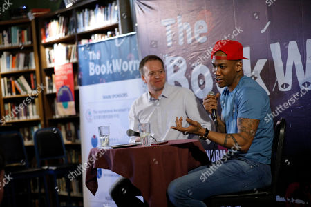 Two-time NBA All-Star and Chinese Basketball League (CBA) MVP Stephon Marbury (R) speaks during a talk at the Bookworm Literary Festival in Beijing, China, 24 March 2019 (issued 25 March 2019). The 12th Bookworm Literary Festival featuring book talks, panel discussions, readings, writing workshops, debates, performances by authors, journalists, poets, and musicians, runs from 15 to 31 March 2019.