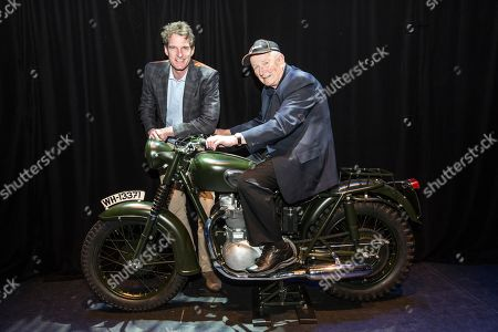 Dan Snow with Tim Gibbes stunt man in the iconic Hollywood movie 'The Great Escape', now aged 85, sitting on the original Triumph TR6 motorcycle made famous in the film
