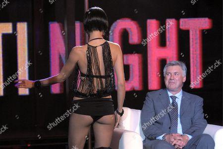 Stock Picture of Carlo Ancelotti and dancer Nora Mogalle