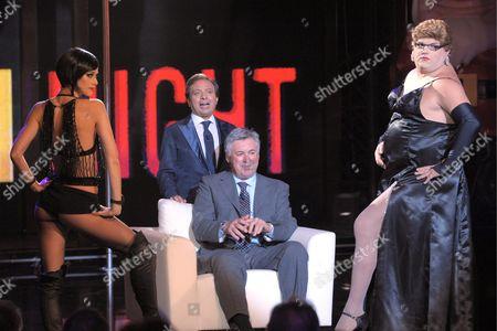 Carlo Ancelotti, Piro Chiambretti and dancer Nora Mogalle