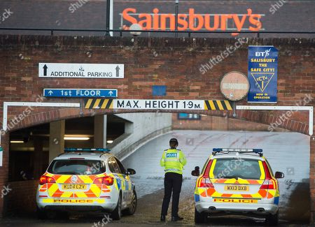 Police Close The Sainsbury Car Park In Salisbury Following The Attempted Murder Of Former Soviet Spy Sergey Skripal. 12/03/2018 Reporter Inderdeep Bains.