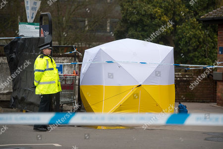 Editorial photo of Police Secure A Section Of The Sainsbury Car Park In Salisbury Following The Attempted Murder Of Former Soviet Spy Sergey Skripal. Picture David Parker 13/03/2018 Reporter Inderdeep Bains.