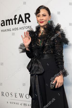 Hong Kong actress Carina Lau arrives for the amfAR fundraising Gala Hong Kong 2019 in Hong Kong, China, 25 March 2019. The charity event benefits the foundation's AIDS research programs.