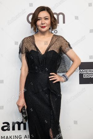 Stock Picture of Hong Kong actress Rosamund Kwan arrives for the amfAR fundraising Gala Hong Kong 2019 in Hong Kong, China, 25 March 2019. The charity event benefits the foundation's AIDS research programs.