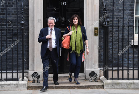 Education Secretary Damien Hinds (L) and Energy Secretary Claire Perry.(R) leave after a Cabinet meeting in Downing Street, London, Britain, 25 March 2019. Reports state that Theresa May updated ministers on her Brexit strategy at a meeting of her cabinet earlier in the day which comes as the EU announced that its preparation for an no-deal scenario has been completed.