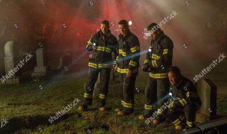Stock Photo of Oliver Stark as Evan 'Buck' Buckley, Peter Krause as Bobby Nash, Ryan Guzman as Eddie Diaz and Kenneth Choi as Howie 'Chimney' Han