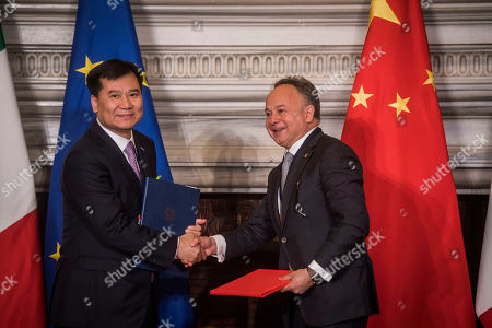 Carlo Maria Ferro, Jin Zhang Dong during their meeting at the Villa Madama in Rome