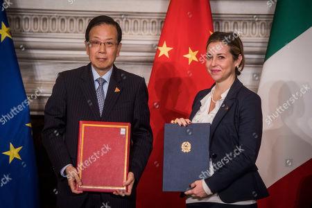 Stock Image of China ambassador in Italy Li Ruiyu, Italian Minister of Health, Giulia Grillo during the meeting at Villa Madama in Rome