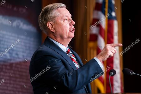 Stock Picture of Republican Senator from South Carolina Lindsey Graham speaks on the Mueller report in the US Capitol in Washington, DC, USA, 25 March 2019. The Special Counsel did not find sufficient evidence that President Trump committed a crime by colluding with Russia.