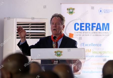 The Executive Director of the World Food Program (WFP) David Beasley speaks during the ceremony of the official launch of the first Regional Center of Excellence against Hunger and Malnutrition in Africa (CERFAM) in Abidjan, Ivory Coast, 25 March 2019.