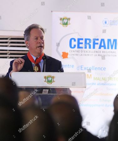 The Executive Director of the World Food Program (WFP) David Beasley speaks during the ceremony of the official launch of the first Regional Center of Excellence against Hunger and Malnutrition in Africa (CERFAM) in Abidjan, Ivory Coast, 25 March 2019.  The regional center of excellence, which aims to promote the fight against hunger and malnutrition, is the third after that of Brazil and China. Staff should be recruited with the assistance of the World Food Program (WFP).