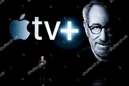 Steven Spielberg at the Steve Jobs Theater during an event to announce new products, in Cupertino, Calif