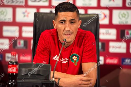 Morocco's national soccer team midfielder Faycal Fajr speaks during a press conference in Tanger, Morocco, 25 March 2019. Morocco will face Argentina in their International Friendly soccer match on 26 March 2019.