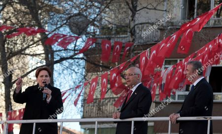 Mansur Yavas, Meral Aksener, Fethi Yasar. Meral Aksener, the leader of opposition IYI (Good) Party, left, Mansur Yavas, the candidate of Turkey's main opposition bloc for Ankara Municipality, right, and Fethi Yasar, the candidate for Yenimahalle district, address a rally in Ankara, Turkey, . The countrywide local elections are scheduled for March 31, 2019 with 57 millions registered voters