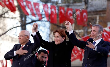 Mansur Yavas, Meral Aksener, Fethi Yasar. Meral Aksener, the leader of opposition IYI (Good) Party, center, Mansur Yavas, the candidate of Turkey's main opposition bloc for Ankara Municipality, right, and Fethi Yasar, the candidate for Yenimahalle district, salute supporters during a rally in Ankara, Turkey, . The countrywide local elections are scheduled for March 31, 2019 with 57 millions registered voters