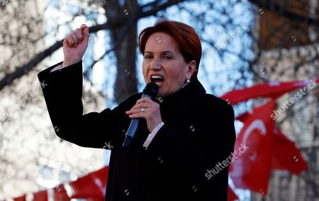 Meral Aksener, the leader of opposition IYI (Good) Party, addresses the supporters during a rally in Ankara, Turkey, . The countrywide local elections are scheduled for March 31, 2019 with 57 millions registered voters