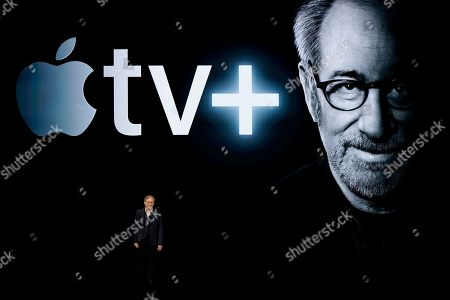 Director Steven Spielberg speaks at the Steve Jobs Theater during an event to announce new Apple products, in Cupertino, Calif