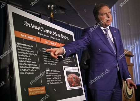 Berman, Sweeney. Geoffrey S. Berman, the United States attorney for the Southern District of New York, points to a chart during a press conference, outlining details that lead to extortion charges for attorney Michael Avenatti,, in New York