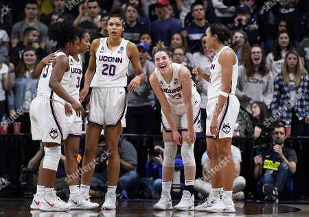Katie Lou Samuelson, Christyn Williams, Megan Walker, Olivia Nelson-Ododa, Napheesa Collier. Connecticut's Katie Lou Samuelson, second from right, with teammates Christyn Williams, left, Megan Walker, second from left, Olivia Nelson-Ododa, center, and Napheesa Collier, right, during the second half of a second-round women's college basketball game in the NCAA tournament, in Storrs, Conn