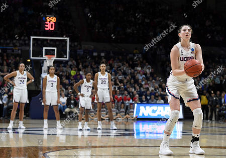 Connecticut's Katie Lou Samuelson (33) during the first half of a second round women's college basketball game against Buffalo in the NCAA tournament, in Storrs, Conn