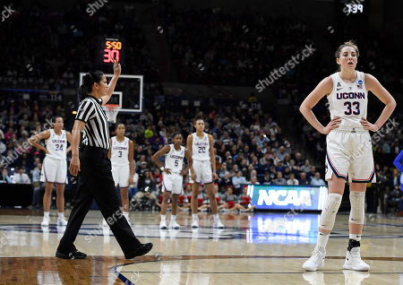Connecticut's Katie Lou Samuelson (33) during the first half of a second round women's college basketball game in the NCAA tournament, in Storrs, Conn