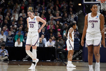 Katie Lou Samuelson, Crystal Dangerfield, Megan Walker. Connecticut's Katie Lou Samuelson, left, Connecticut's Crystal Dangerfield, center, and Connecticut's Megan Walker, right, during the first half of a second round women's college basketball game in the NCAA tournament, in Storrs, Conn