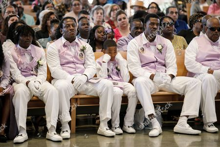 Pallbearers for the memorial service of Trinity Love Jones, listen to a sermon at St. John Vianney Parish in Hacienda Heights, California, USA, 25 March 2019. The body of Trinity Love Jones, 9-years-old, was found in a duffel bag along a trail in Hacienda Heights this month. Taquesta Graham, 28, a former Long Beach resident, has been in custody without bail since 08 March on a warrant unrelated to her daughter's death. She was extradited from Texas to California last week to answer investigators' questions about Trinity. Graham's boyfriend, Emiel Hunt, 38, has also been charged with murder in the child's death. If convicted, Hunt faces up to 55 years to life in prison. Graham faces a maximum sentence of 26 years to life in state prison if convicted.