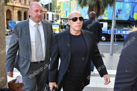Stock Photo of Tom Domican (R) arrives at the Federal Court in Sydney, Australia, 26 March 2019. Domican is suing publishers Pan Macmillan and John Ibrahim for comments in his book, The Last King Of The Cross, which he claims falsely portray him as a killer and drug dealer.