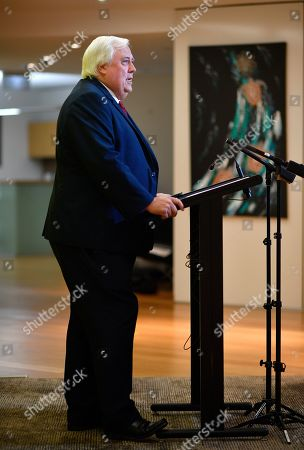 United Australia Party leader Clive Palmer speaks during a press conference in Brisbane, Australia, 26 March 2019. Palmer says Australians should be deeply concerned Pauline Hanson's One Nation had approached US lobby group the National Rifle Association (NRA) for funding.