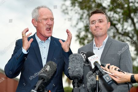 One Nation party officials Steve Dickson (L) and James Ashby (R) field questions during a press conference in Brisbane, Australia, 26 March 2019. The pair have been caught in an al-Jazeera investigation which used hidden cameras and a journalist posing as a grassroots gun campaigner to expose the far-right party's extraordinary efforts to secure funding in Washington DC in September.
