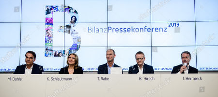 (L-R) Chief Executive Officer of Penguin Random House Markus Dohle, Executive Vice President Corporate Communications of Bertelsmann Karin Schlautmann, Chairman and Chief Executive Officer of Bertelsmann Thomas Rabe, Chief Financial Officer of Bertelsmann Bernd Hirsch, Chief Human Resources Officer of Bertelsmann Immanuel Hermreck during the annual results conference in Berlin, Germany, 26 March 2019. According to Bertelsmann revenues in 2018 rose to 17.7 billion Euro, a highest level since 2007. Operating EBITDA is on a higher level, compared to 2017 results.