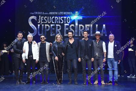 Stock Image of (L to R) Yahir, Enrique Guzman, Kalimba, Maria Jose, Beto Cuevas, Leonardo de Lozanne, Erik Rubin, Alejandro Gou
