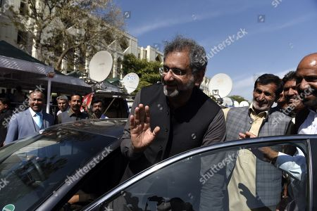 Stock Photo of Shahid Khaqan Abbasi, former Prime Minister and leader of opposition party Pakistan Muslim League Nawaz (PMLN) leaves after the Supreme Court granted bail to PMLN head and former Prime Minister Nawaz Sharif, on medical grounds, in Islamabad, Pakistan, 26 March 2019. Pakistan's Supreme on 26 March, granted bail of six weeks to Nawaz Sharif, for health reasons. Nawaz Sharif, 69, has been serving a seven-year sentence for corruption.