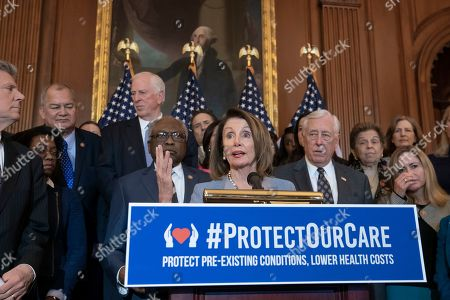 """Nancy Pelosi, Steny Hoyer, James E. Clyburn. Speaker of the House Nancy Pelosi, D-Calif., flanked by Majority Whip James E. Clyburn, D-S.C., left, and House Majority Leader Steny Hoyer, D-Md., right, leads an event to announce legislation to lower health care costs and protect people with pre-existing medical conditions, at the Capitol in Washington, . The Democratic action comes after the Trump administration told a federal appeals court that the entire Affordable Care Act, known as """"Obamacare,"""" should be struck down as unconstitutional"""