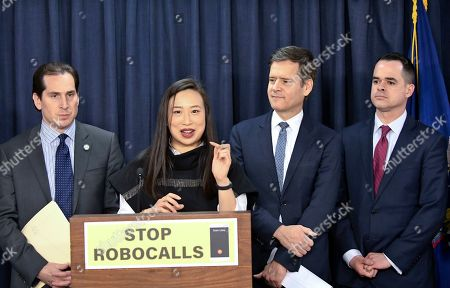 From left, state Sen.Todd Kaminsky, D-Rockville Centre, Assemblywoman Yuh-Line Niou, D-New York, state Sen. Brad Hoylman, D-New York, and state Sen. David Carlucci, D-Nanuet, hold a news conference to advance legislation banning robocalls in New York state, at the state Capitol in Albany, N.Y
