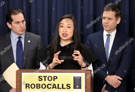 From left, state Sen. Todd Kaminsky, D-Rockville Centre, Assemblywoman Yuh-Line Niou, D-New York, and state Sen. Brad Hoylman, D-New York, hold a news conference to advance legislation banning robocalls in New York state, at the state Capitol in Albany, N.Y