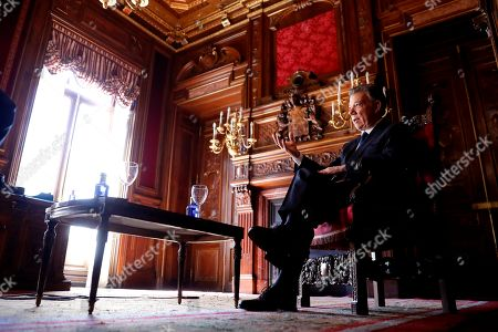 Former president of Colombia Juan Manuel Santos speaks during an interview to Spanish News Agency EFE held in Madrid, Spain, 26 March 2019. Santos presents his book 'La batalla por la paz' (lit. The battle for the peace) in Madrid.