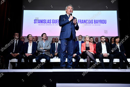 President of Mouvement Democrate (MoDem) political party Francois Bayrou delivers a speech during the European elections campaign meeting in Paris, France, 26 March 2019. The European Parliament elections will be held between 23 and 26 May 2019.