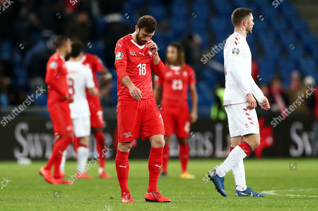 Lukas Lerager of Denmark looks dejected.
