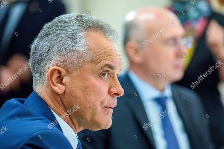 The head of Democratic Party Vladimir Plahotniuc pictured at a meeting with the President of Moldova Igor Dodon (not seen) in the State Residence in Chisinau, Moldova, 26 March 2019. The president invited the leaders of Parliament's fractions to discuss about scenarios of exit from political blockage. Four parties had won in Moldova's parliamentary elections on 24 February 2019, but no one get majority, and no government is formed yet on a coalition.