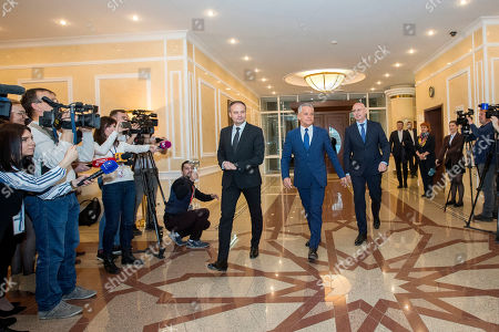The head of Democratic Party Vladimir Plahotniuc (C) with Andrian Candu (L) former speaker and Pavel Filip (R) former Moldova prime minister, discuss before the meeting with President of Moldova Igor Dodon (not seen) in the State Residence in Chisinau, Moldova, 26 March 2019. The president invited the leaders of Parliament's fractions to discuss about scenarios of exit from political blockage. Four parties had won in Moldova's parliamentary elections on 24 February 2019, but no one get majority, and no government is formed yet on a coalition.