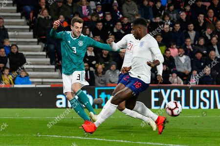 Lucas Klunter of Germany U21's crosses the ball during the U21 International match between England and Germany at the Vitality Stadium, Bournemouth