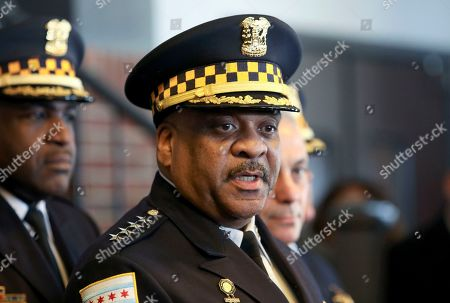 "Chicago Police Superintendent Eddie Johnson speaks during a news conference, after prosecutors abruptly dropped all charges against ""Empire"" actor Jussie Smollett, abandoning the case barely five weeks after he was accused of lying to police about being the target of a racist, anti-gay attack in downtown Chicago. Johnson stood by the department's investigation and said Chicago is ""is still owed an apology"