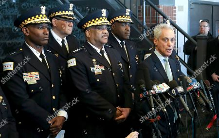 "Rahm Emanuel, Eddie Johnson. Chicago Mayor Rahm Emanuel, right, and Chicago Police Superintendent Eddie Johnson, center, appear at a news conference, after prosecutors abruptly dropped all charges against ""Empire"" actor Jussie Smollett, abandoning the case barely five weeks after he was accused of lying to police about being the target of a racist, anti-gay attack in downtown Chicago. The mayor and police chief blasted the decision and stood by the investigation that concluded Smollett staged a hoax"