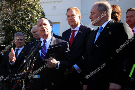 Steve Scalise, Kevin Brady, Cathy McMorris Rodgers. Rep. Kevin Brady, R-Texas, left, together with Rep. Rep. Steve Scalise, R-La., right, and other Republican members of Congress speaks to reporters outside the West Wing of the White House following a meeting with President Donald Trump at the White House