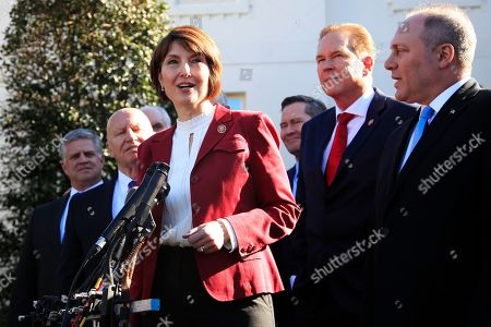 Steve Scalise, Kevin Brady, Cathy McMorris Rodgers, Vern Buchanan. Rep. Cathy McMorris Rodgers, R-Wa., together with Rep. Kevin Brady, R-Texas, left, Rep. Rep. Steve Scalise, R-La., right, Rep. Vern Buchanan, R-Fla., second from right, and other Republican members of Congress speaks to reporters outside the West Wing of the White House following a meeting with President Donald Trump at the White House in Washington
