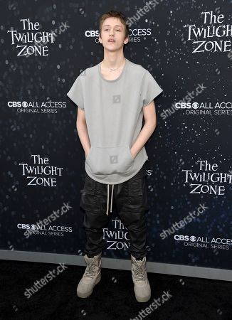 "Percy Hynes-White arrives at the Los Angeles premiere of ""The Twilight Zone"" at Harmony Gold on"