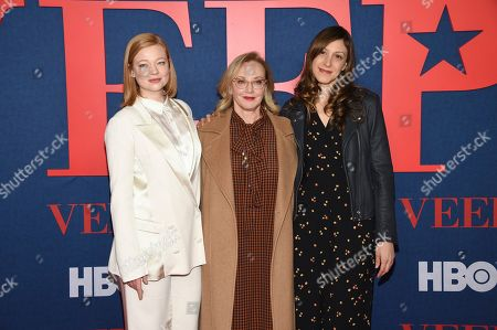 """Stock Photo of Sarah Snook, J. Smith-Cameron, Natalie Gold. Actresses Sarah Snook, left, J. Smith-Cameron and Natalie Gold attend the premiere of the final season of HBO's """"Veep"""" at Alice Tully Hall, in New York"""